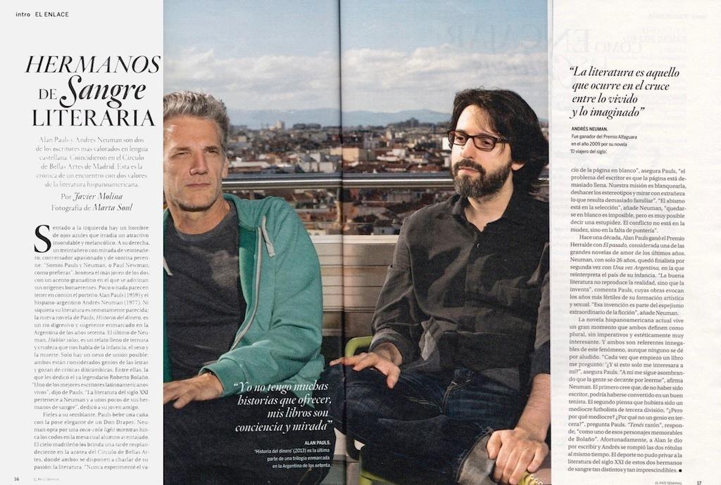 Alan Pauls & Andres Neuman: Hermanos de sangre literartia (El País Semanal, July 14th 2013)